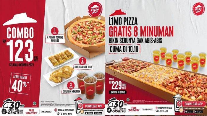 PROMO PIZZA HUT Hari Ini 10 Oktober 2021, Spesial Promo 10.10 Beli L1mo Pizza Gratis 8 Minuman Segar