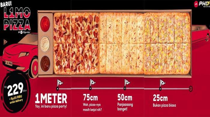 PROMO TERBARU PHD Pizza Hut Delivery Hari Ini, Nikmati Serunya L1MO Pizza 1 Meter untuk 6 - 8 Orang