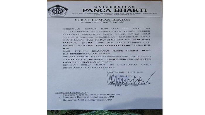 Rektor UPB Pontianak Keluarkan Surat Edaran Terkait Cuti Bersama Hari Raya Idul Fitri
