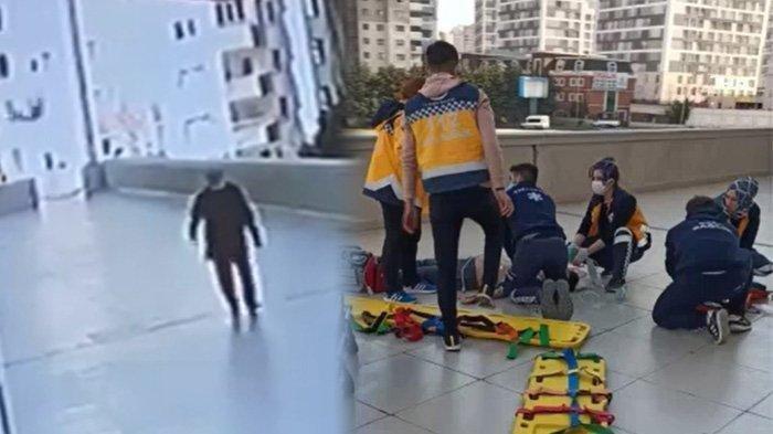 Seorang remaja sibuk main ponsel, terjatuh dari lantai 12 gedung apartemen