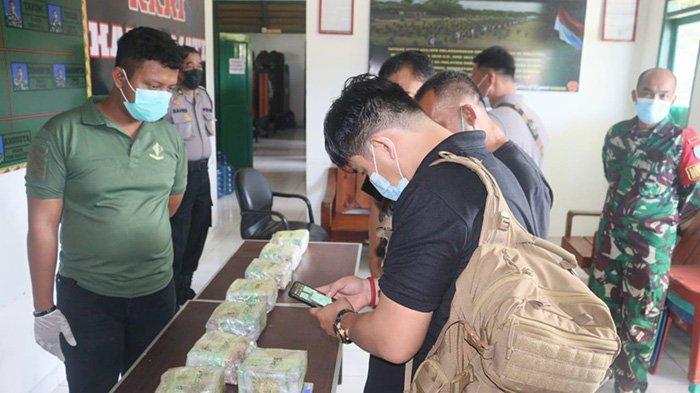 Satgas Pamtas Yonif 642/Kps Gagalkan Penyelundupan 10 Kg Sabu, Dua Orang Mencurigakan Berhasil Kabur
