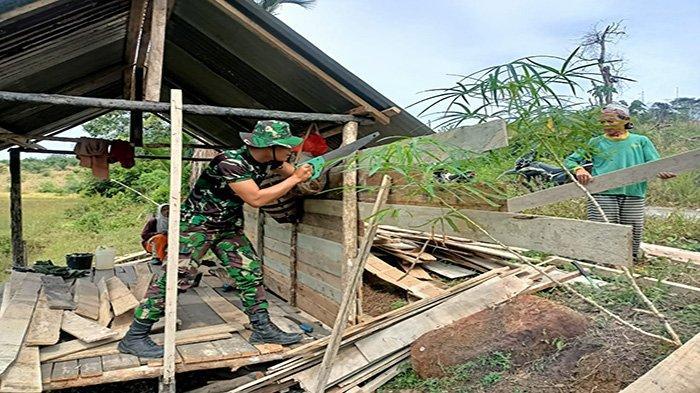 Satgas TMMD 110 Kodim 1201/Mph Bantu Dirikan Pondok Ladang di Desa Tolok Kabupaten Landak