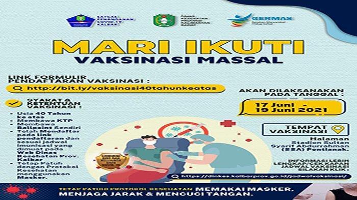 CEK dan Daftar Vaksinasi Massal COVID-19 untuk Umum Usia 40 Tahun Keatas di Kalimantan Barat