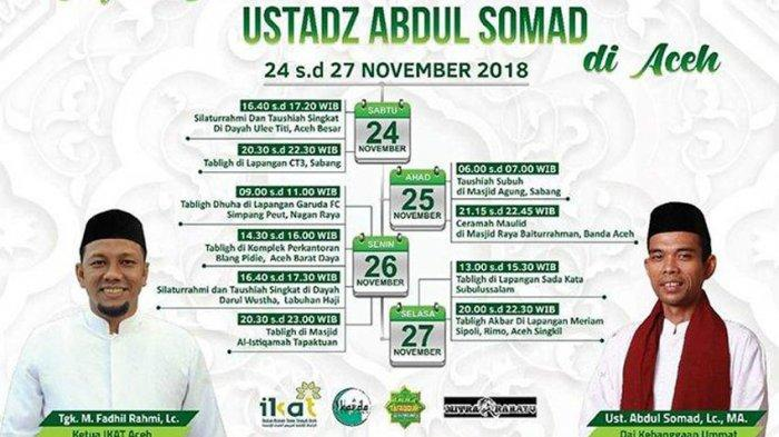 Jadwal Ceramah Ustadz Abdul Somad di Aceh, Mulai Sabang, Banda Aceh, Nagan Raya hingga Aceh Singkil