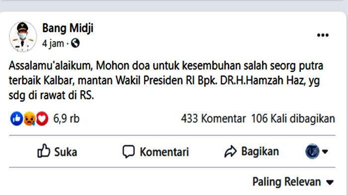 Screenshot postingan Gubernur Kalimantan Barat, Sutarmidji, di Facebook Bang Midji, Kamis 8 Oktober 2020 malam WIB.