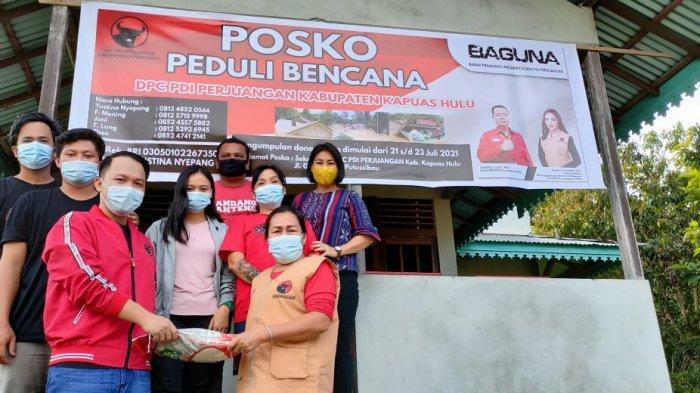 Baguna PDIP Kalbar Salurkan Sembako ke Korban Banjir di Kapuas Hulu
