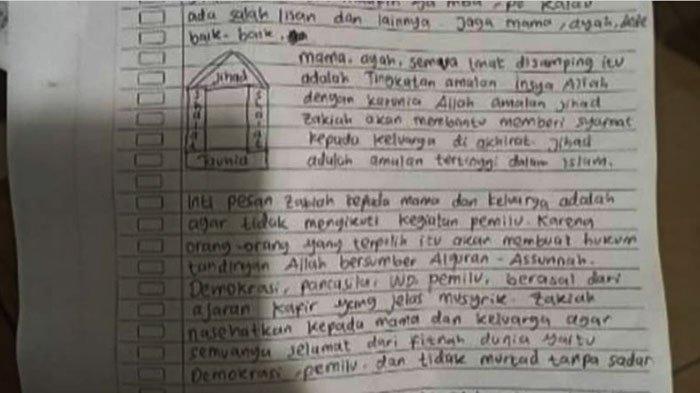 Surat Wasiat Teroris yang Serang Mabes Polri - Mama, Sekali Lagi Zakiah Minta Maaf! Zakiah Sayang. .