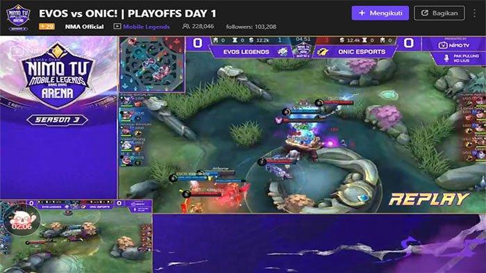 Sedang Bertarung EVOS Legends Vs Onic Esports di Bracket Playoff NMA Season 3 Live NimoTV