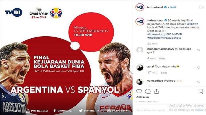 SEDANG Live, Link LIVE Streaming Spanyol Vs Argentina, Final Piala Dunia Basket 2019 di China