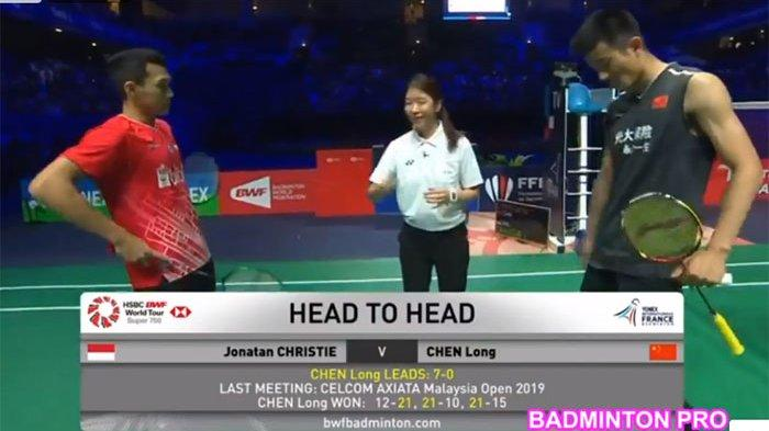 SEDANG LIVE, Streaming Jonatan Christie vs Chen Long - FINAL French Open 2019, Bisa Juara Umum