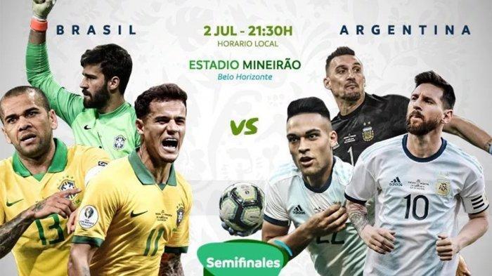 Segera Berlangsung! Live Streaming Brazil Vs Argentina, Siaran Langsung Semifinal Copa America 2019