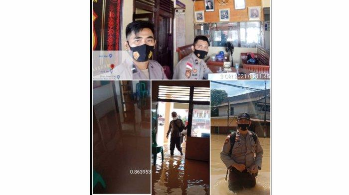 Banjir Genangi Mako, Personel Piket Jaga Mapolsek Putussibau Utara Tetap Semangat Melaksanakan Tugas