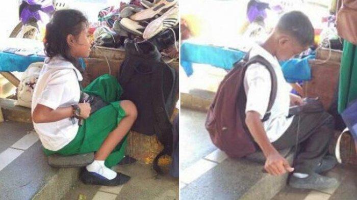 Keuangan Orangtua Tak Pasti, Masih Kenakan Seragam Sekolah Kakak Beradik Ini Jadi Tukang Sol Sepatu