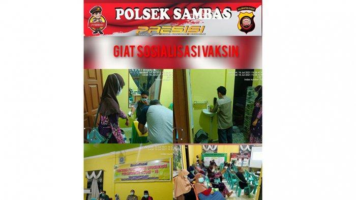 Hadiri Rapat di Kantor Desa, Bhabinkamtimbas Polsek Sambas Ajak Warga Vaksin