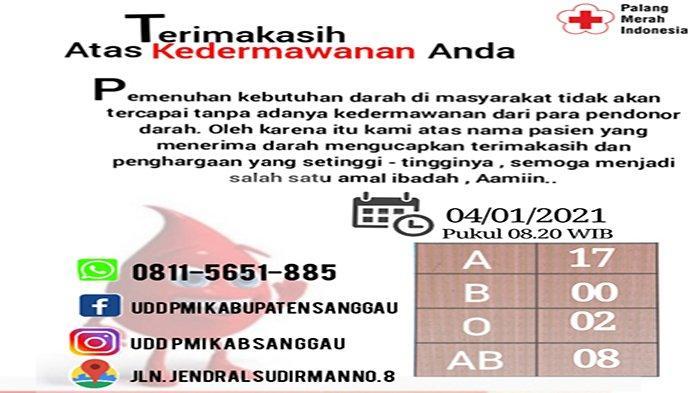 Berikut Update Stok Darah di UDD PMI Sanggau, 4 Januari 2021