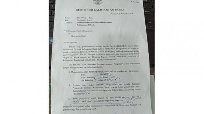 Sutarmidji Sebut Surat Permohonan Minta Bantuan Dana Pengamanan Pilkada atas Nama Dirinya Palsu