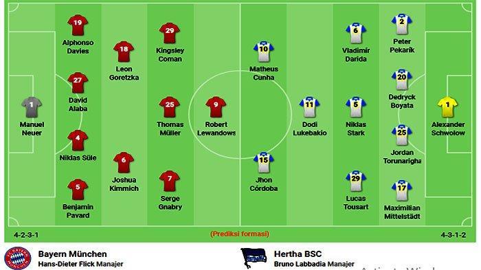 Susunan Pemain Bayern Vs Herta Liga Jerman Live Streaming NET TV Bayern Munich Vs Hertha Berlin Mola