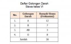 Tabel daftar golongan darah siswa kelas VI.