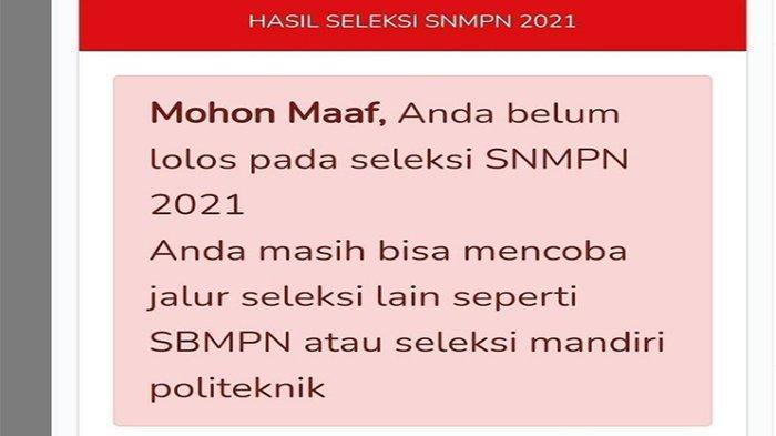 Snmpn.politeknik.or.id Login Pengumuman Hasil SNMPN 2021 ! Ini Tampilan Jika Tidak Lulus SNMPN 2021