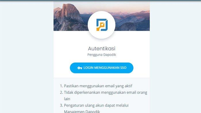 Link Https Ptk Datadik Kemdikbud Go Id Login Sso Dapodik Online Pastikan Email Aktif Tribun Pontianak