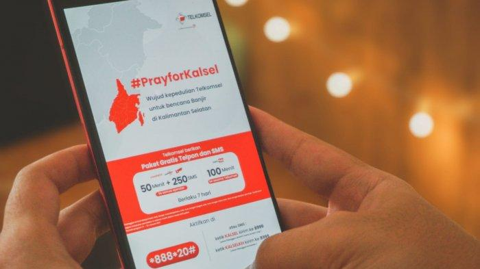 Telkomsel BebaskanTelepon dan SMS Bagi Pelanggan Terdampak Banjir di Kalsel