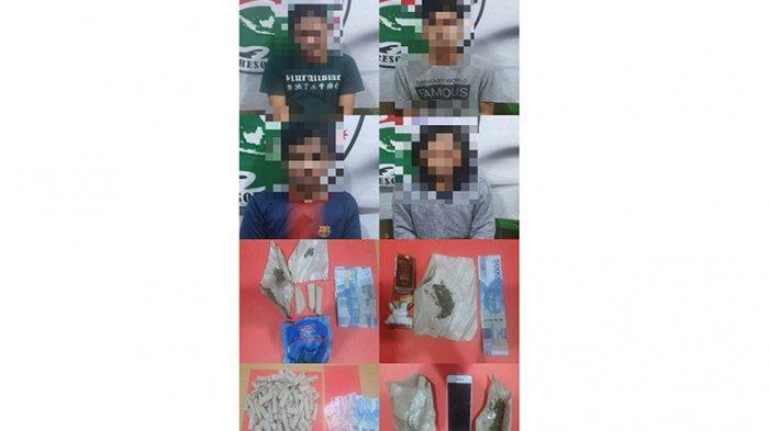 Diduga Pengedar Narkotika Jenis Ganja, 4 Pemuda Ditangkap Satresnarkoba Polres Kubu Raya