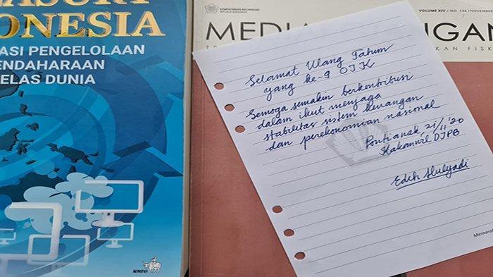 Tulisan tangan ucapan HUT Ke-9 OJK dari Kakanwil Ditjen Perbendaharaan ( DJPb) Kalbar Edih Mulyadi, Sabtu 21 November 2020.