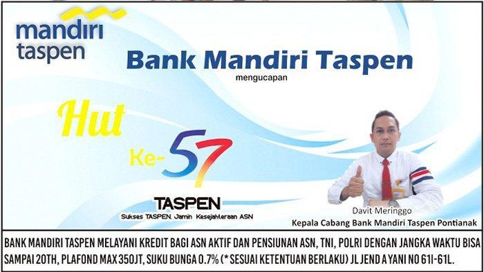 Bank Mandiri Taspen Mengucapkan Selamat HUT Ke-57 PT Taspen (Persero)