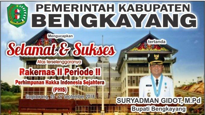 Bupati Bengkayang, Suryadman Gidot Mengucapkan Selamat Rakernas Hakka Indonesia