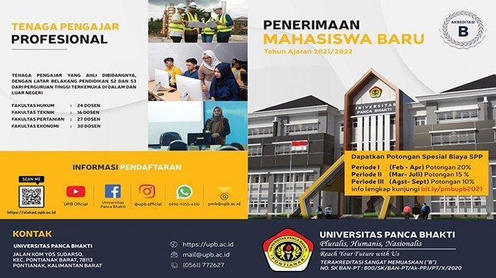 Catat Jadwalnya, UPB Pontianak Buka Penerimaan Mahasiswa Baru Tahun Ajaran 2021/2022