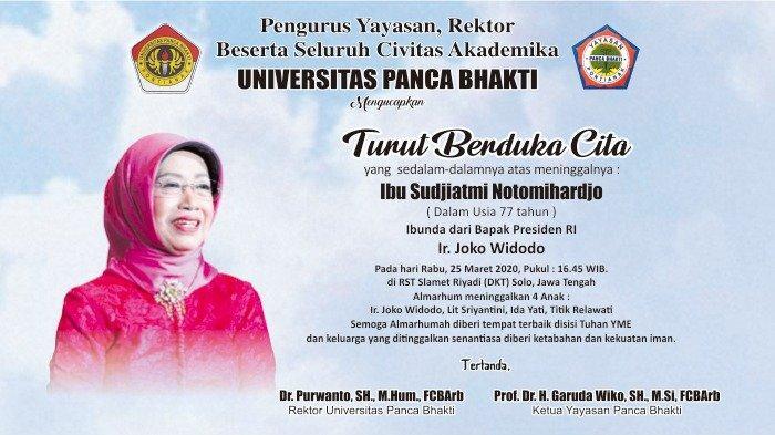 UPB Pontianak Berbelasungkawa Atas Wafatnya Sudjiatmi Notomihardjo, Ibunda Presiden Jokowi
