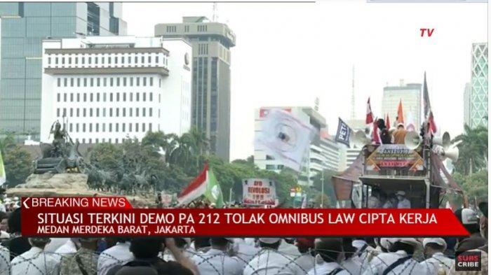 UPDATE Demo Buruh Hari Ini Demonstrasi Omnibus Law Alumni 212 Live Kompas Tv hingga Tv One Live