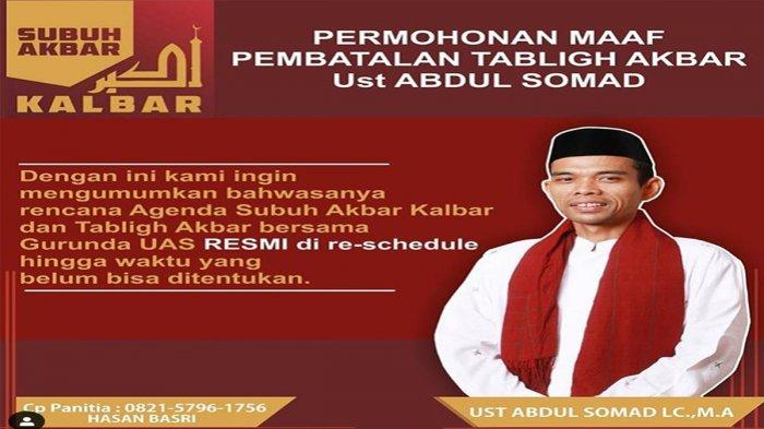 Ustadz Abdul Somad Batal Ceramah Di Pontianak Dan Kubu Raya Pada Bulan Ramadhan 2019 Tribun Pontianak