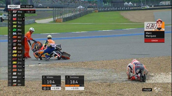 VIDEO Detik-detik Marc Marquez Kecelakaan di MotoGP Thailand 2019 hingga Dilarikan ke Rumah Sakit