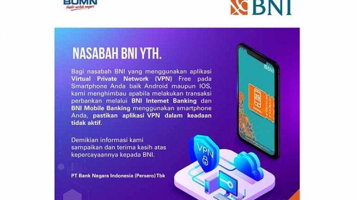 Bni Keluarkan Imbauan Tentang Transaksi M Banking Yang Menggunakan Vpn Tribun Pontianak
