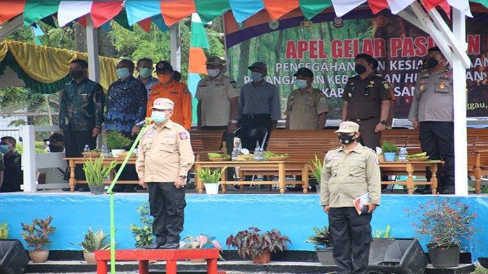 Apel Gelar Pasukan Kesiapsiagaan Pencegahan dan Penanganan Karhutla PT MPE, Ini Pesan Wabup Sanggau