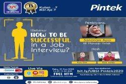 Kolaborasi UBSI dan PINTEK Langsungkan Webinar Sukses Job Interview