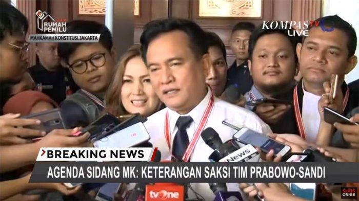 Yusril Tanggapi Pernyataan Saksi BPN Prabowo - Sandi di Sidang MK, Berapa Milih Jokowi dan Prabowo?