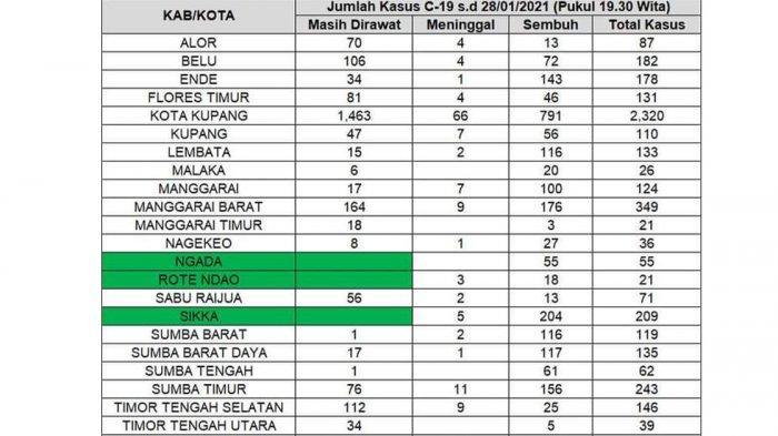 Data terbaru Covid-19 hari ini 28 Januari 2021 di Provinsi NTT atau Nusa Tenggara Timur