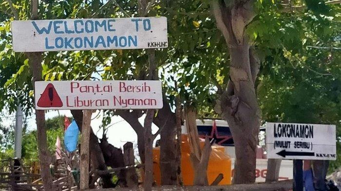 Beberapa ajakan untuk menjaga kebersihan di lokasi wisata Pantai Mulut Seribu yang ada di Kabupaten Rote Ndao, Provinsi Nusa Tenggara Timur ( NTT ), Indonesia.
