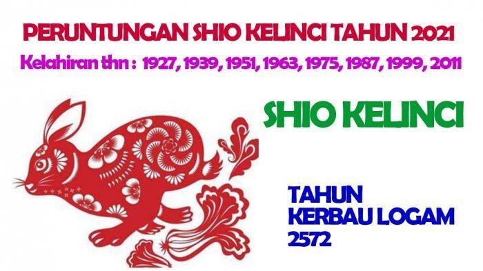 Shio Kelinci dimiliki oleh mereka yang lahir Tahun : 1927, 1939, 1951, 1963, 1975, 1987, 1999, 2011