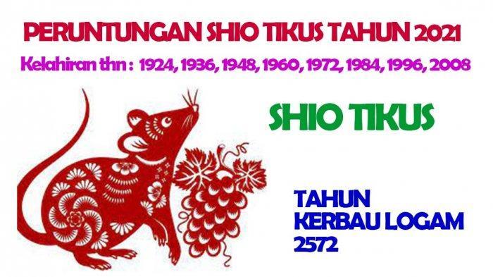 Shio Tikus dimiliki oleh mereka yang lahir pada tahun 1924, 1936, 1948, 1960, 1972, 1984, 1996, 2008.