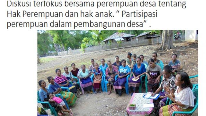 Veronika Ata, SH,M.Hum, Ketua Lembaga Perlindungan Anak Provinsi NTT atau LPA NTT dalam diskusi terfokus bersama perempuan desa tentang hak perempuan dan hak anak