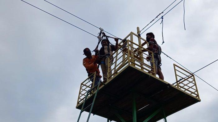 Wahana Flying Fox Nononeten di Lokasi Bendungan Raknamo, Kabupaten Kupang, Provinsi Nusa Tenggara Timur ( NTT )
