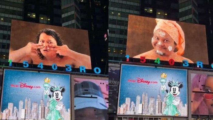Tangkap layar billboard Time Square New York yang menampilkan Babe Cabiita dan Marshel Widianto sebagai brand ambassador MS Glow For Men
