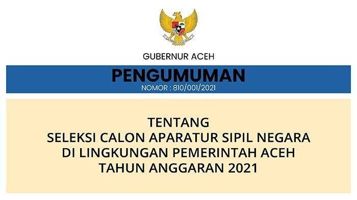 Pengumuman Seleksi CPNS Aceh Tahun Anggaran 2021