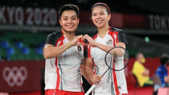 Pasangan ganda putri Greysia Polii/Apriyani Rahayu dalam final Olimpiade Tokyo 2020. (NOC Indonesia)