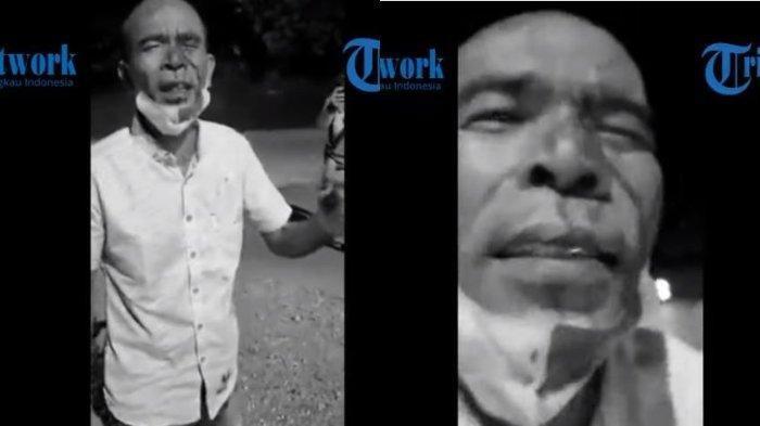 Viral video mantan Anggota DPRD Tapanuli Tengah bernama Awaluddin Rao mengaku tertusuk pena setelah mendapat perlakuan kasar dari aparat penjaga Pos PPKM Padang pada Jumat (16/7/2021). (YouTube Tribun MedanTV)
