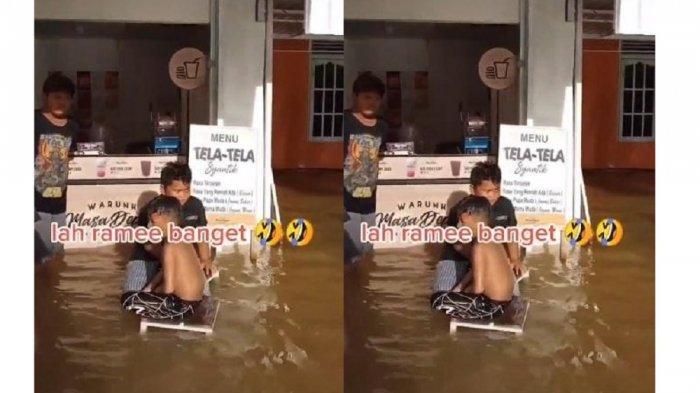 Cerita Pedagang Gorengan Nekat Jualan saat Banjir: Ramai Baget, Jadi Tempat Wisata Dadakan
