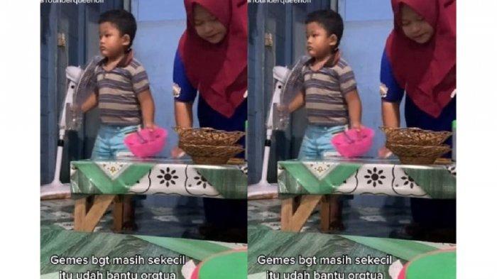 Viral Bocah Berusaha Bantu Sang Ibu saat Jualan, Banjir Pujian, Ternyata Begini Kisah di Baliknya